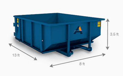 A 10 yard dumpster with the dimensions of it. Showing the size of a 10 yard roll-off container that is offered by Alliance Disposal's dumpster rentals.