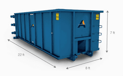 A 40 yard dumpster dimensions showing the size of Alliance Disposal's 40 yard dumpster rentals.