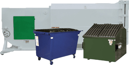 Commercial dumpster rental options include self-compacting roll-off container, a front end dumpster and a rear end dumpster